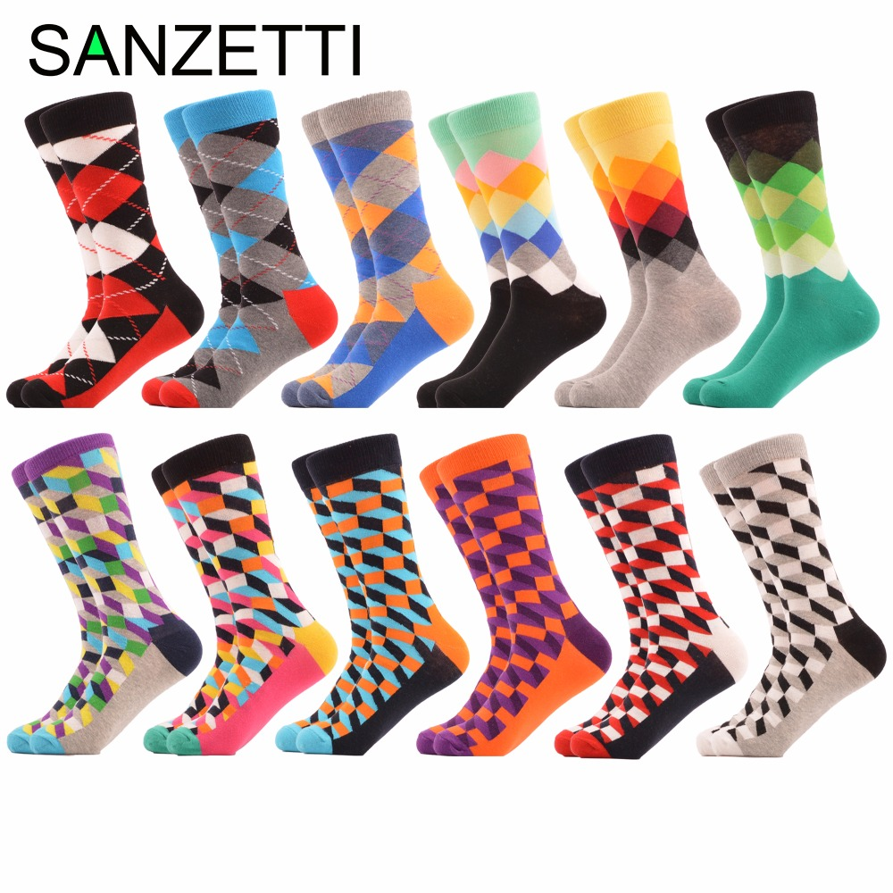 SANZETTI 12 pairs/lot Mens Funny Filled Optic Combed Cotton Wedding Socks Christmas Casual Crew Dress Party Socks Novelty Gifts