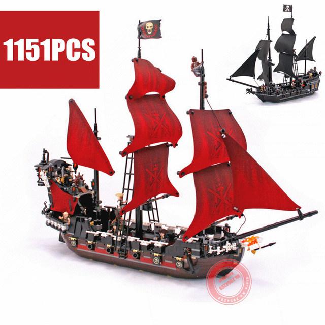 The Black Pearl Queen Anne's revenge fit Pirates ship of the Caribbean Building Blocks bricks 4184 4195 gift kids set
