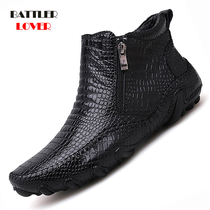 2019 Mens Loafers Winter Shoes Men Loafers Leather Moccasin Crocodile Style Footwear Slip On Flat Driving Boat Shoes Classical