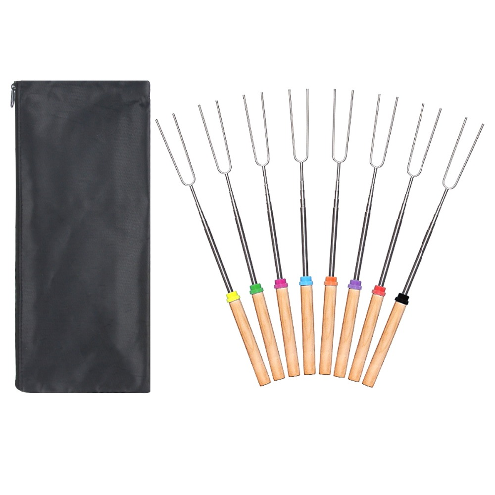 8 Pcs/set BBQ Forks Camping Campfire Stainless Steel Wooden Handle Telescoping Barbecue Roasting Fork Sticks Skewers
