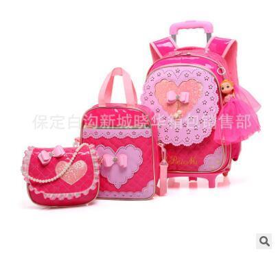 School Trolley Bag Wheels Children Luggage Rolling Bags Wheeled Backpacks Bag For Girls Travel Trolley Backpack Bags For Kids