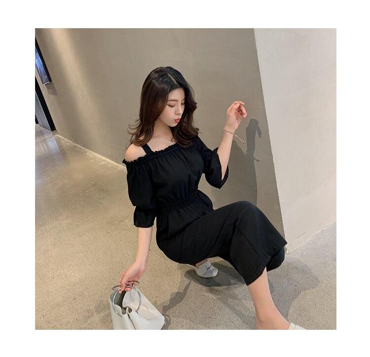 Women's Clothing 2019 Summer New Sexy Bohemian Style Spaghetti Strap Helf Sleeve High Waist Sling Long Beach Wide Leg Jumpsuit 32