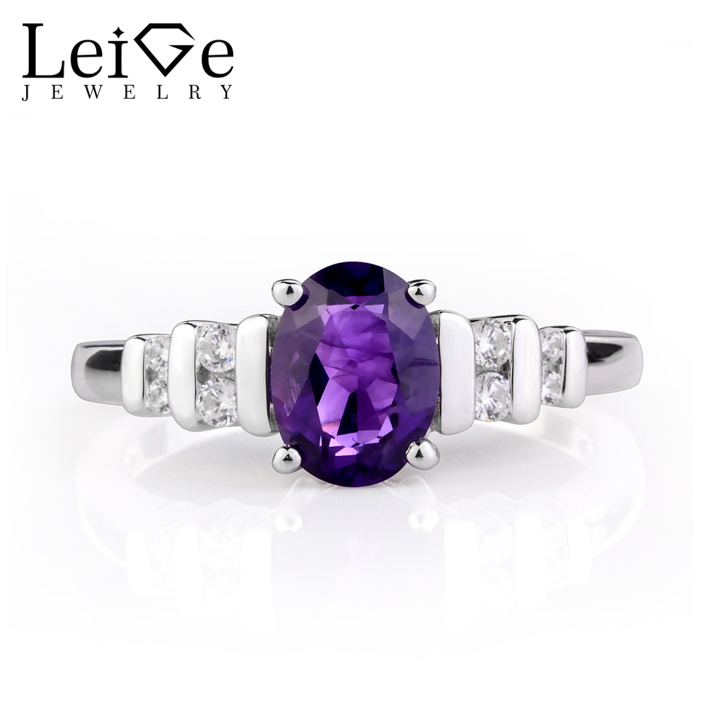 Leige Jewelry Oval Amethyst Ring Natural Purple Gemstone Silver 925 Jewelry Engagement Anniversary Rings for Women Birthday Gift leige jewelry natural amethyst ring purple gemstone oval shaped wedding engagement rings for women sterling silver 925 jewelry
