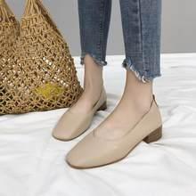 33fedeca08 Grosso com sapatos única fêmea 2018 outono nova versão Coreana da boca rasa  cabeça quadrada de leite retro sapatos sapatos único.