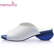 Купить с кэшбэком MEMUNIA 2017 Newest high quality ladies genuine leather shoes women slippers low heels solid color summer womens sandals