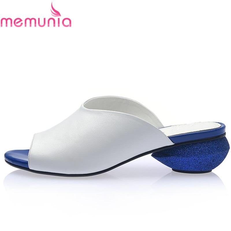 MEMUNIA 2019 nuevo zapatos de cuero genuino de alta calidad para mujer Sandalias de tacón bajo sandalias de verano de color sólido para mujer-in Sandalias de mujer from zapatos    1