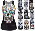 2016 Summer Skull Skeleton 3d Printed Tops Sleeveless Workout Tank Top Women Sexy Top Fitness Feminino Harajukku Vest Punk