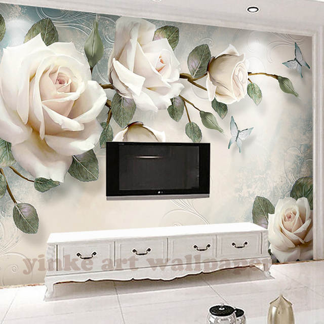 Placeholder Custom Photo Wallpaper Painting White Rose Flowers Wall Murals Living Room Tv Sofa Backdrop
