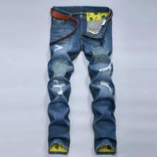 #1510 Slim fit джинсы Модельер Джинсовые байкер джинсы Повседневная Рваные джинсы для мужчин Панк Мужские jogger джинсы Тощий проблемных