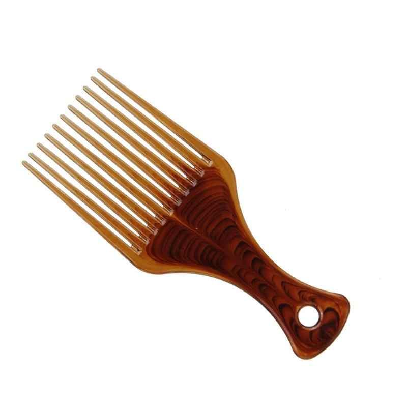 Peine tenedor para cabello plano de gran tamaño de dientes anchos peine inserto Afro pelo Pik Lift disco peines ámbar carbono antiestático