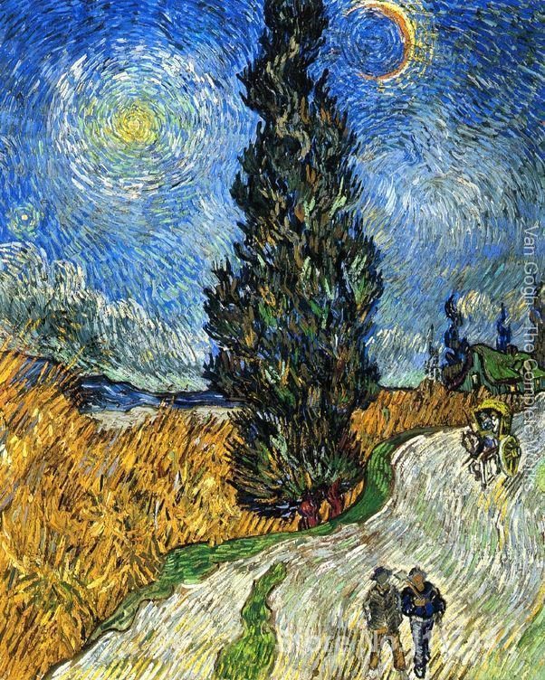 ван гог картина кипарисы - Vincent Van Gogh paintings of Cypress against a Starry Sky impressionism art High quality Hand painted
