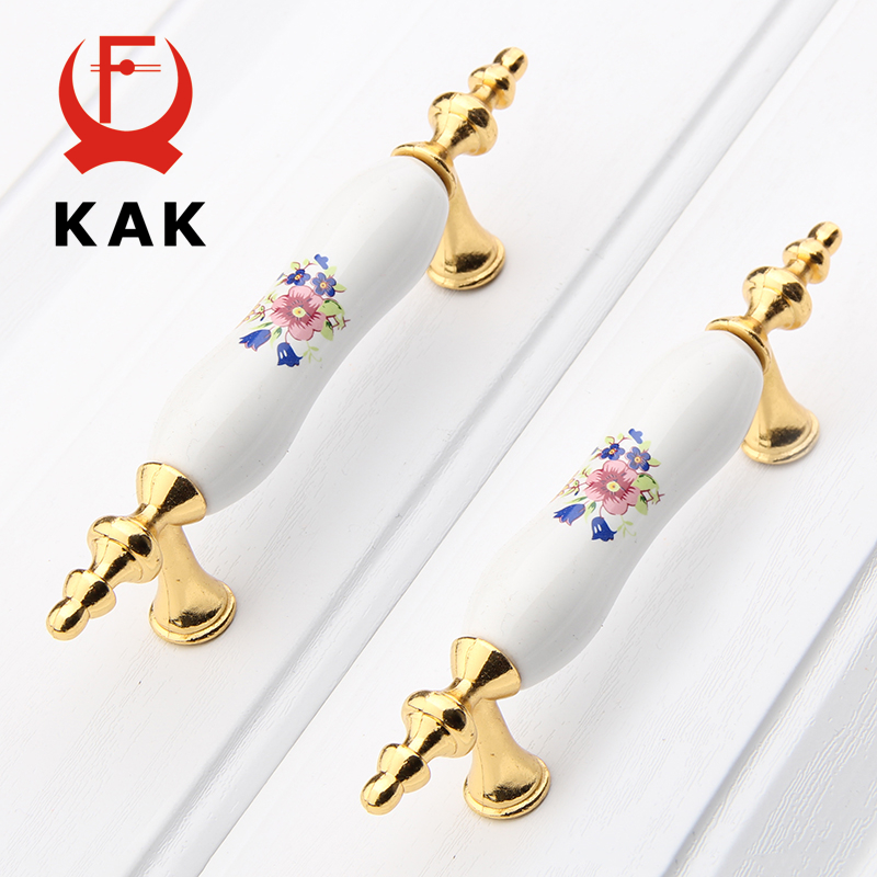KAK Ceramic Vintage Handles Zinc Alloy Drawer knobs Cabinet Wardrobe Door Handles Pulls European Furniture Handle Hardware