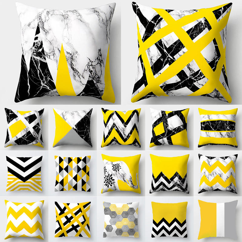 Yellow Pillow Cover Marble Geometric Cojines Decorativos Para Sofa Cushion Cover Polyester Home Decor Housse De Coussin 40548