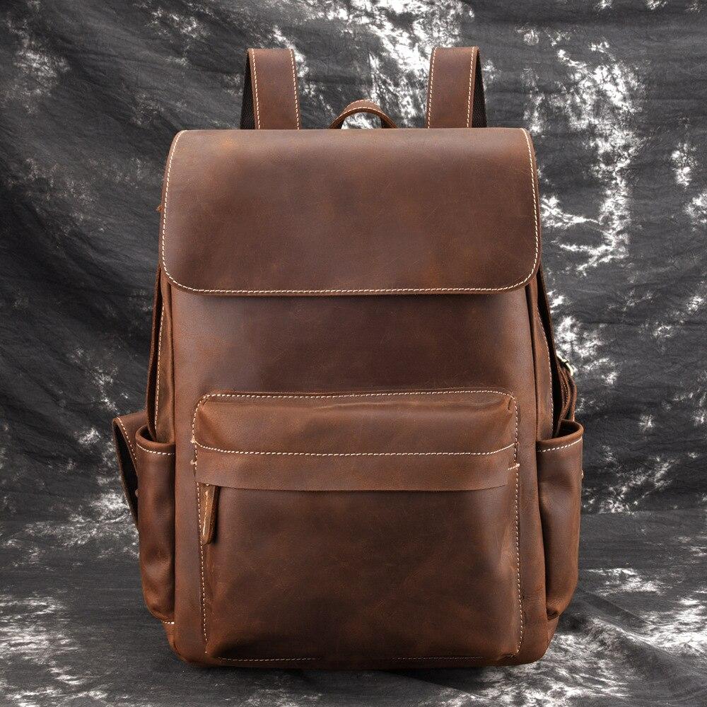 cd6fa87ad82f Высокое качество масло воск коровьей рюкзак школьный большой ёмкость Книга  сумка мужской путешествия пояса из натуральной кож