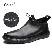 YIGER New Mens Casual Shoes Genuine Leather Man Leisure shoes Cow winter with fur warm male loafers Black  0199