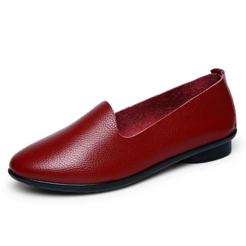 ФОТО Women's Summer 2017 Black Red Ballet Ballerina Slip-on Barefoot Genuine Leather Upper Comfortable Lady Girl Flats Shoes