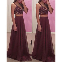 BeryLove Sexy Burgundy Two Pieces Prom Dresses Long Beaded Lace Prom Gowns 2018 Plus Size Special Occasion Dresses For Prom