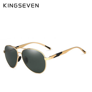 Image 3 - KINGSEVEN تصميم الرجال الكلاسيكية الاستقطاب النظارات الشمسية الألومنيوم الطيار نظارات شمسية UV400 حماية NF 7228