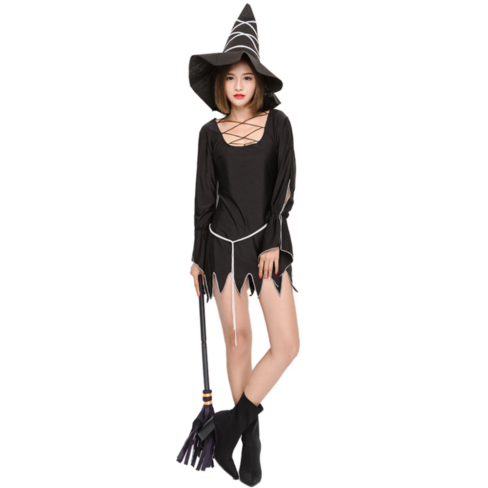 Adult Women Halloween Gothic Witch Costume Dress Scary