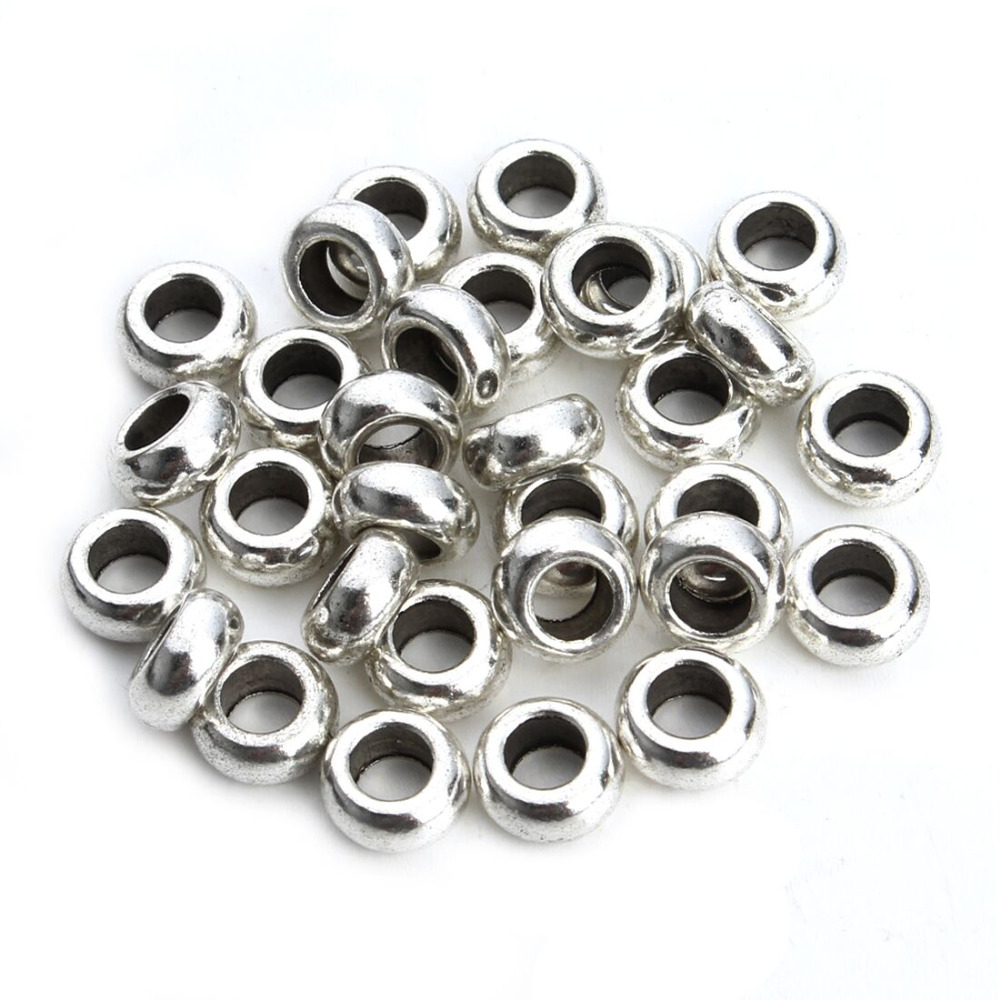 30pcs/lot Silver Tone Spacer beads European ring Bead Fitting DIY charm Bracelet Big hole Bead For Women Jewelry making DIY F407 ...