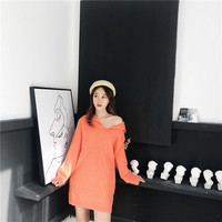 New Arrivals Knitted Sweater Female Solid Crew Neck Full Sleeve Pullover Causal Knitwear Woman