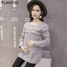 PLAMTEE Spring Maternity Fashion Striped Printing Shirt New Long Sleeves Embroidered Blouse For Pregnant Women 2018