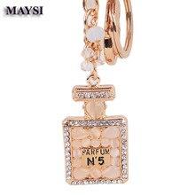Centelleo Botella de Perfume N5 llavero colgante Embutido Crystal Rhinestone llavero llaveros bolsa de mujer encanto porte clef kc45b Regalo