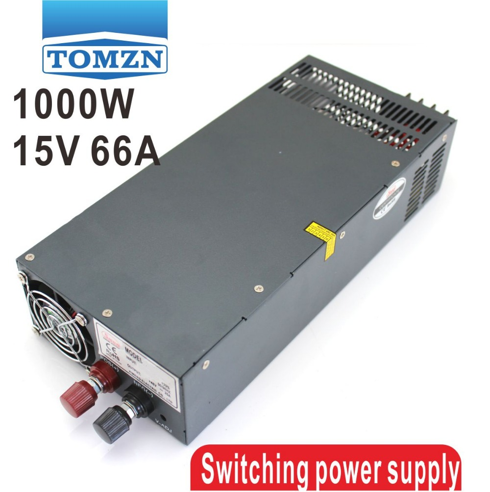 1000W 15V 66A 110V input Single Output Switching power supply for LED Strip light AC to DC best quality 12v 15a 180w switching power supply driver for led strip ac 100 240v input to dc 12v