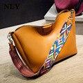 2017 new women leather casual tote shoulder crossbody fashion Bag National wind color wide shoulder straps handbag composite bag