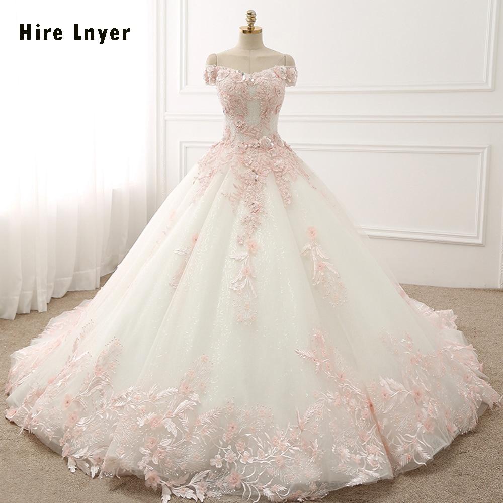 NAJOWPJG Off The Shoulder Short Sleeve Lace Up Princess Wedding Dress Gelinlik 2019 Pink Flowers Appliques