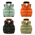 New Pattern Down Cotton-padded Girls Boys Vest Waistcoat  Loaded Vest embroidered Children's Winter Spring Jackets velvet Coats