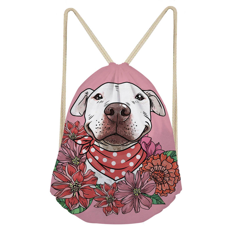 THIKIN Pit Bull Flowers 3D Printing Women Drawstring Bag Polyester Girls Shoulder Bag Good Quality Women Travel Backpack Mochila