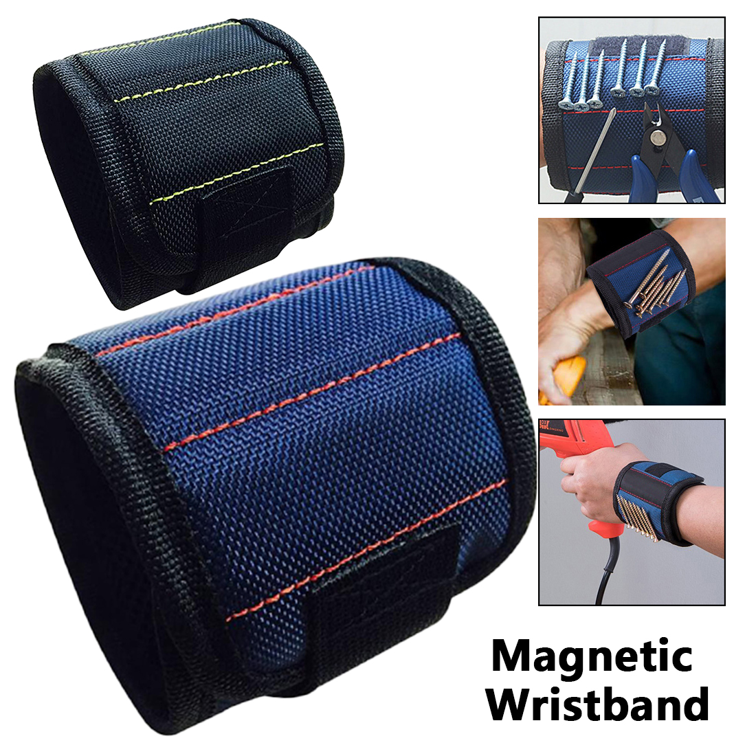 Adjustable Tool Wrist Bands Strong Magnet Wristband Tool for Screws Nails Nuts Bolts Hand Free Drill Bit Holder for Home Repair