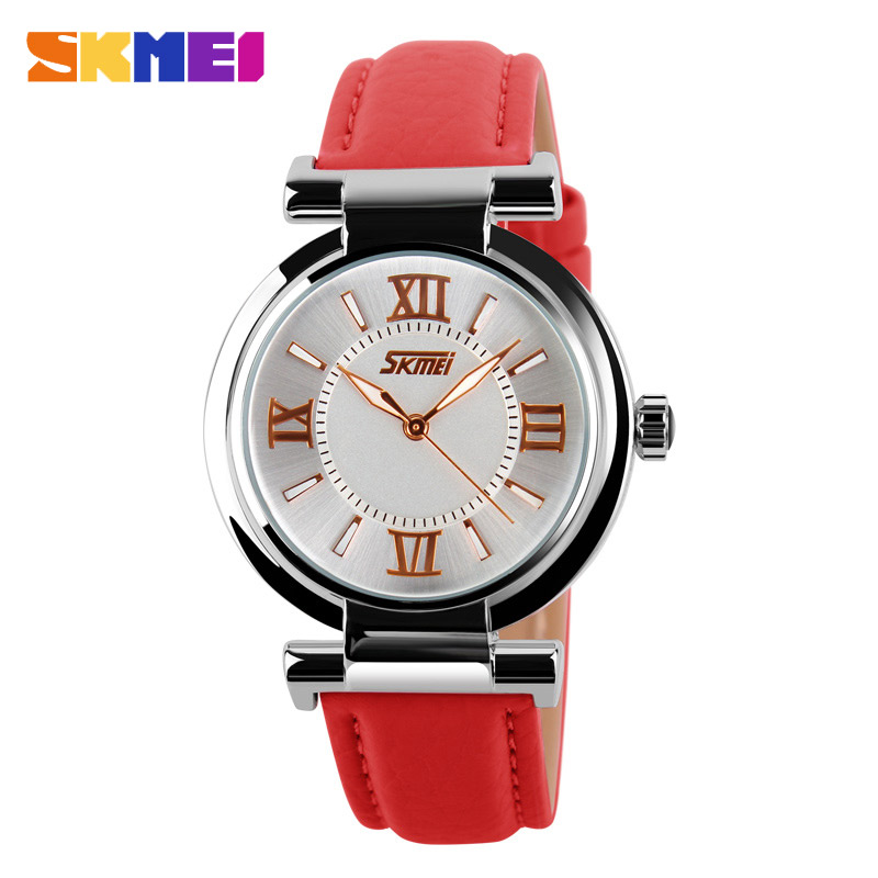 SKMEI 9075 Women Watches Waterproof Leather Strap Fashion Quartz Watches Luxury Brand Wristwatches Relogio Feminino XFCS