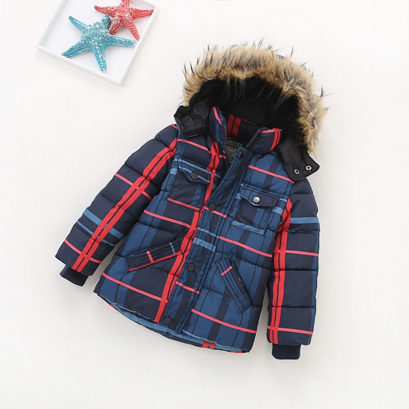 Baby Boys/Girls Cotton-padded Clothes Thick Outerwear 2017 New Winter Kids Hooded Down/Parkas Plaid Casual Jacket/Coat Child Top 2017 new children baby winter cotton padded jacket toddler girls boys zipper nylon coat fashion outerwear kids parkas clothes