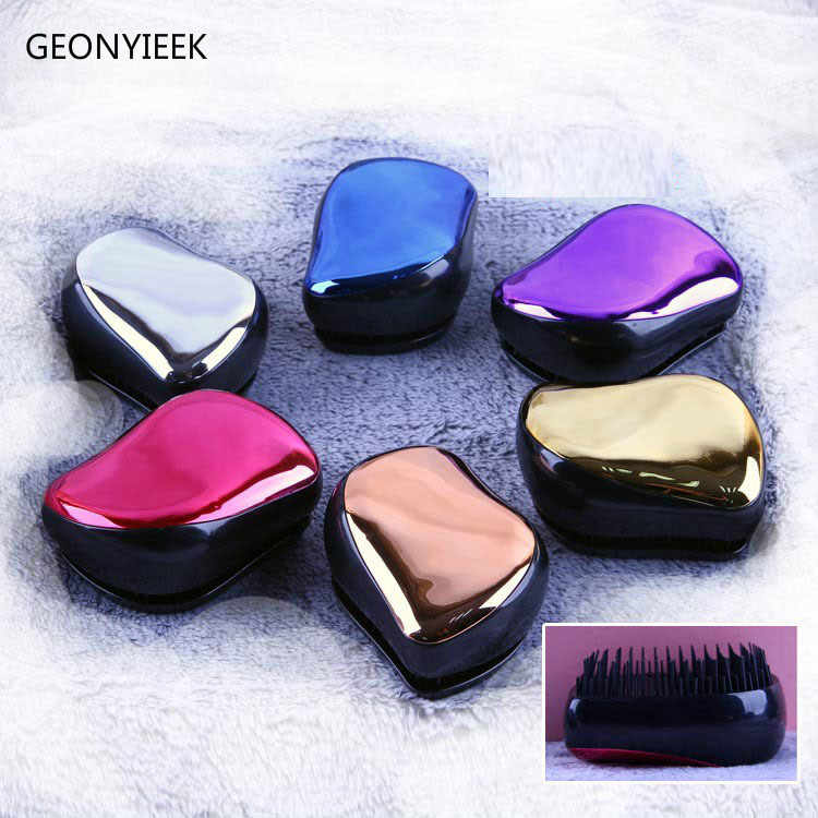 1pc Magic comb Anti-static Hair Brush Handle Tangle Detanglinglice lice Comb Electroplate Massage Comb Salon Hair Styling Tool
