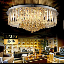 Town factory wholesale round crystal ceiling lamp living room lamps hotel bedroom
