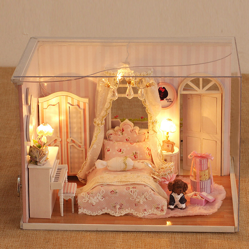 Cf02 Miniatura Bedroom Wooden Doll House Furniture