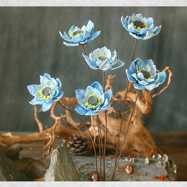 One Piece Blue Lotus Handmade Art Dried Flower Wedding Party Home