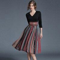Autumn Women Vintage Dresses 2017 New V Neck High Waist Retro Chiffon Printing Long Dress Women