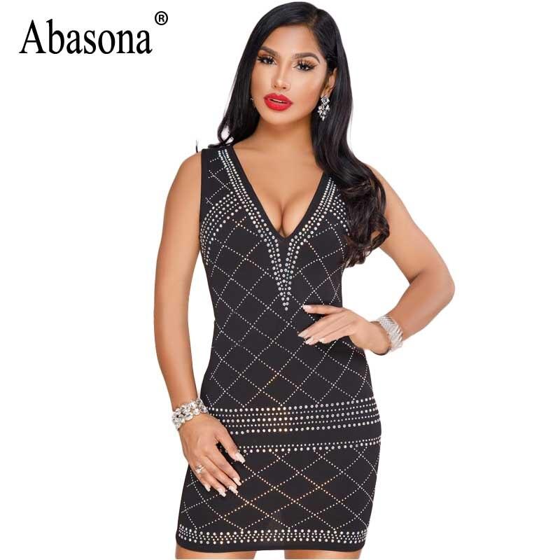 7edd80e921 Abason Women Dresses Summer 2018 Black White Bodycon Rhinestone Dress v  Neck Plaid Mini Pencil Party Dress Robe Femme