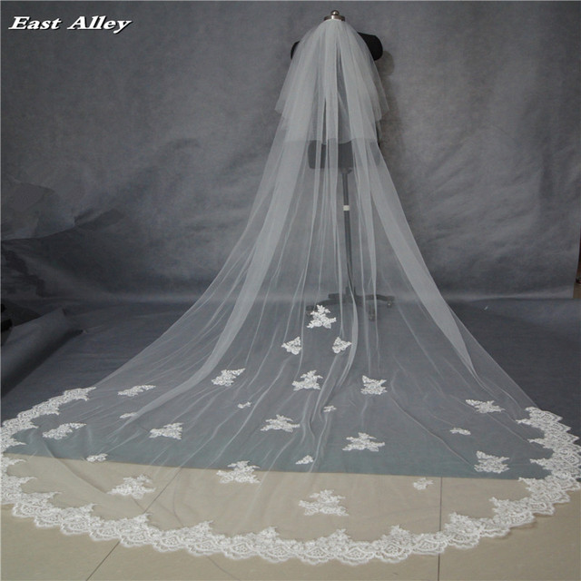 2017 Popular New Style White or Ivory 2 Layer 3 Meters  Lace Edge Cathedral Length Wedding Bridal Veil