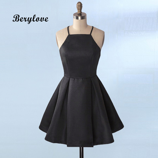 Berylove Cute Black Short Homecoming Dresses 2018 Mini Satin Dress Plus Size Gowns Tail