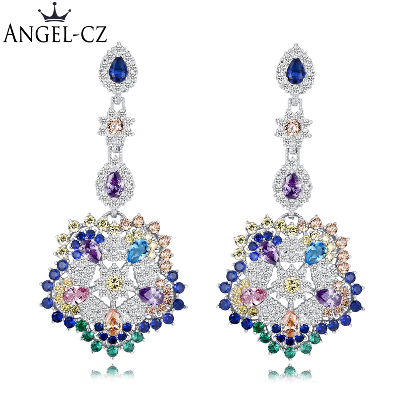 2e4f986843 ANGELCZ Vintage Ethnic Style Jewelry Big Flower Drop Cubic Zirconia Women  Boho Long Earrings With Blue Green Pink Stones AE075