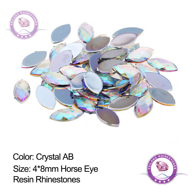 Feilang 4 8mm AB Flatback Rhinestones Crystals Stones Horse Eye resin Strass  For DIY Clothes dd86349bbcdf
