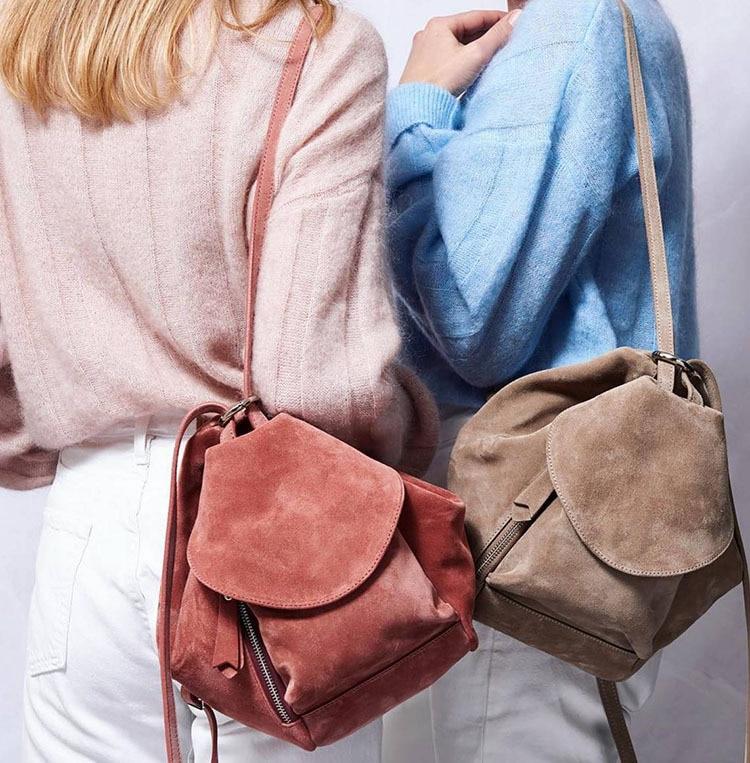 Casual Suede Leather Soft Backpack Women Large Shoulder Bag