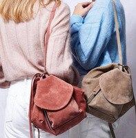 Повседневное замша мягкий рюкзак женщин большие сумки на ремне
