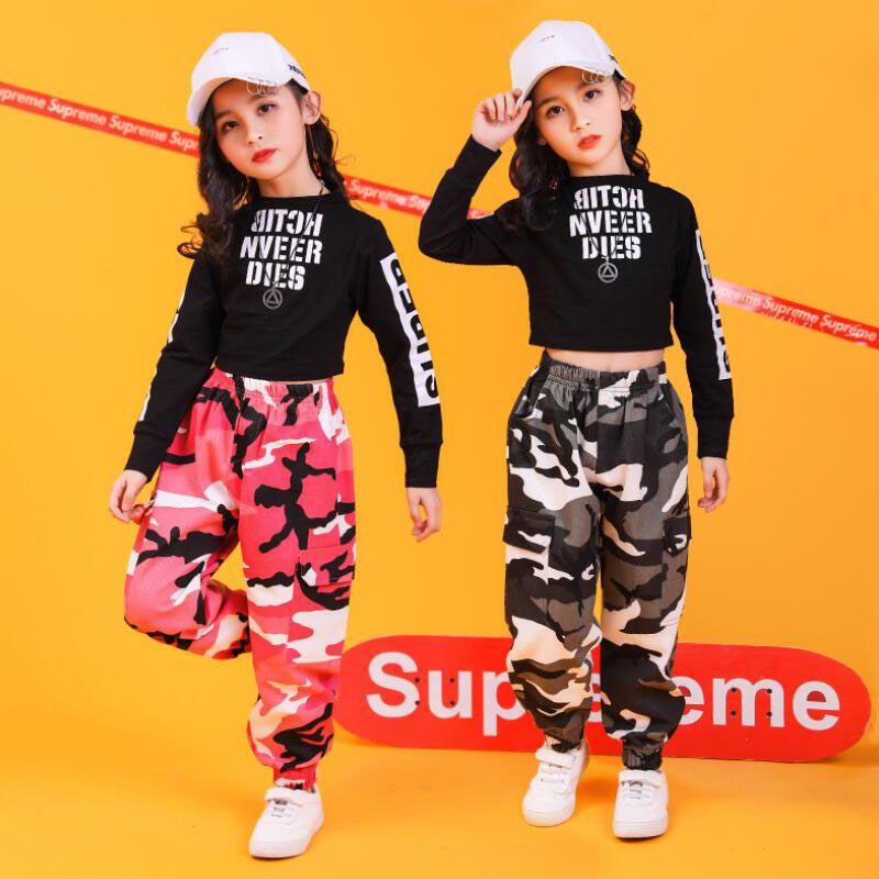Kids Hip Hop Ballroom Dance Clothing Outfits Girls Jazz Dancing Costumes T Shirt Camouflage Pants Street Stage Clothes Wear