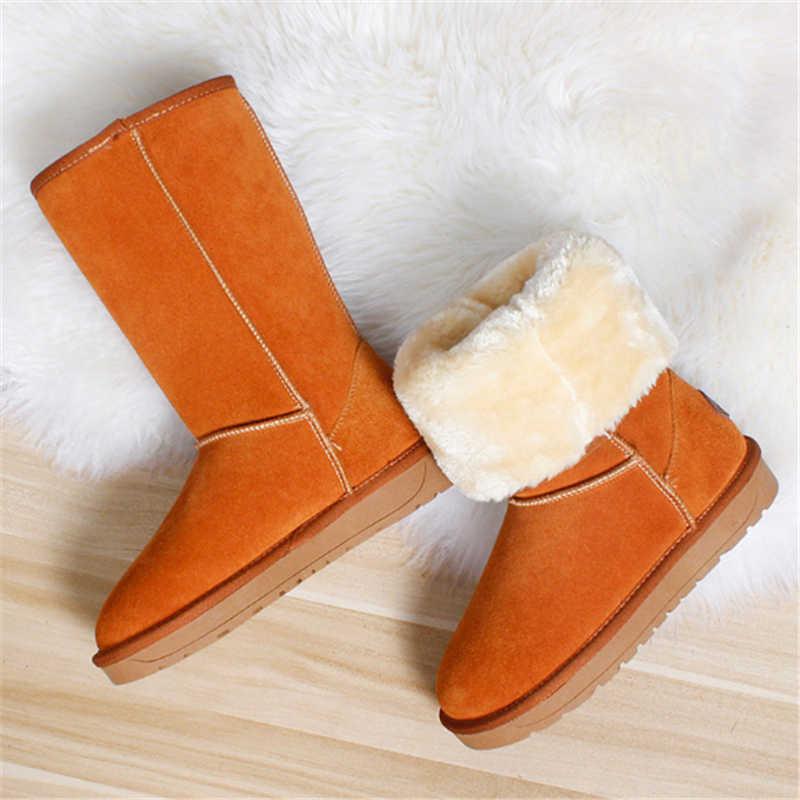 עור אמיתי נשים של חורף מגפיים גבוהים באיכות גבוהה Cowhide שלג מגפי 2020 חדש מותג עיצוב קטיפה פרווה שטוח תחתון חם אתחול