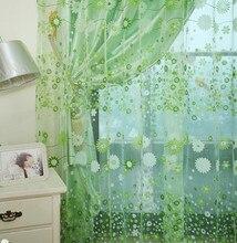 Flor diseño terminado cortinas de tela transparente de tul organza rústico hogar floral verde cortinas de ventana de la cocina